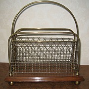 Oak and Brass English Magazine Rack c.1880