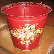 Pretty Red Tole Jardiniere c. 1910