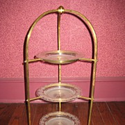 Victorian Brass Platestand with Plates c.1890