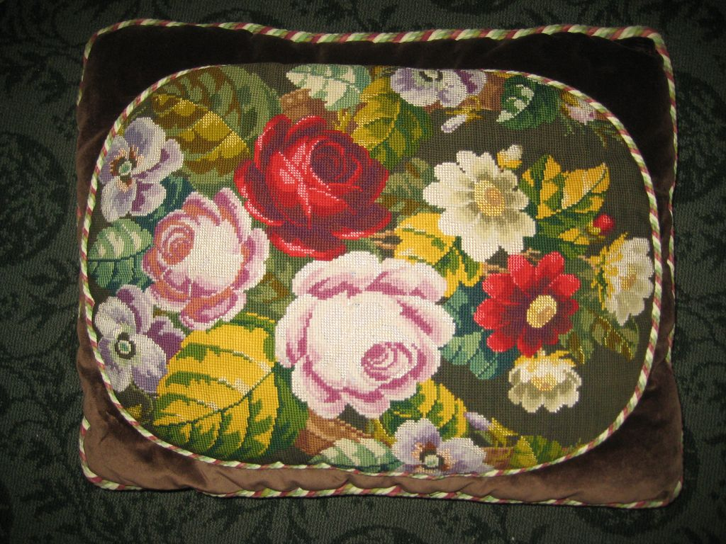 19th Century English Needlework Cushion c. 1880
