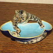 George Jones Majolica Cat Dish c. 1870