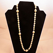 Single Strand White Baroque Pearls 14K Gold Clasp & Spacers