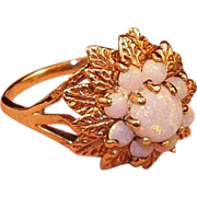 Vintage 10K Yellow Gold Opal Cluster Ring Size 7