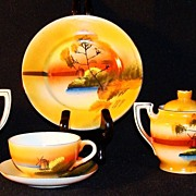 Japan Tree in the Meadow Windmill Children's Demitasse Tea Set, (6) Six Pieces