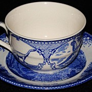 "Johnson Brothers Blue and White Transfer Mt. ""Rushmore, South Dakota"" Souvenir Cup &"