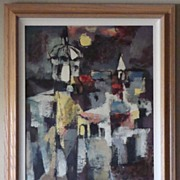 "Original Sueo Serisawa ""Moon Over San Miguel, Mexico"" Oil On Board [framed]"