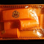 Vintage Plastic Orange Salt & Pepper w/Butter Dish Kitchenware Set