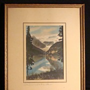Lake Louise and Victoria Glacier, Banff, AB Hand Colored Albumen Photo Print