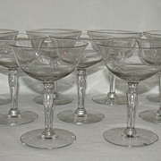"Seneca Glass ""Celeste"" #355 Champagne/Tall Sherbet Glass, Set of 9"