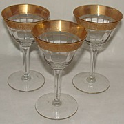"Tiffin ""Rambler Rose"" Liquor Cocktail Glass #14196, Set of 3"
