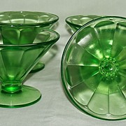"Federal Glass Green ""Optic Panel"" Pattern# FEG6 Sherbet Glass, Set of 4"
