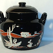 "Red Wing Potteries Hand Painted ""Southwest"" Bean Pot Cookie Jar"