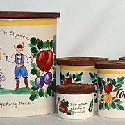 "Bauer Pottery ""Motto Ware"" Kitchen Canister Set, 7 Pieces"