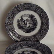 "T. J. & J. Mayer ""Rhode Scenery"" Mulberry Transfer Plate, Set of 6"