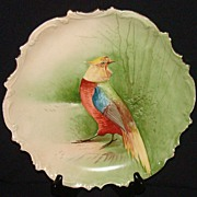 "B & H Limoges, France ""Cockatoo"" Game Bird Plaque Plate"