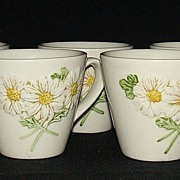 "Metlox Poppy Trail ""Sculptured Daisy"" Cups, Set of 7"