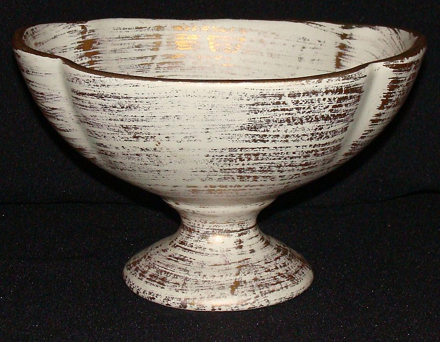 Royal Haeger Pottery Art Ware Gold Tweed Compote