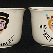 "Vintage Pottery Motto Ware ""His Better Half!"" and ""Her Better Half!"" Cups,"