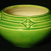 Vintage Green & Cream Art Ware Pottery Art Deco Rose Bowl
