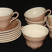 "Harker Pottery Harkerware Pink Cocoa ""Chesterton"" Cups and Saucers, Set of 6"