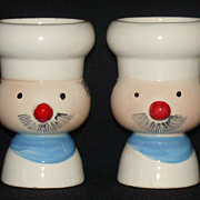 Holt Howard Davar Pixieware Chef Man Egg Cups, Set of 2