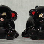 Japan Redware Black Cat Salt and Pepper Shakers