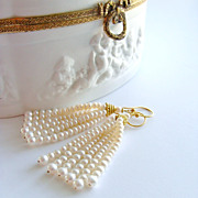 Graduated Pearl Tassel Earrings - Anais Earrings