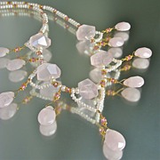 The Blushing Bride � Rose Quartz, Pink Topaz & Pearl Necklace