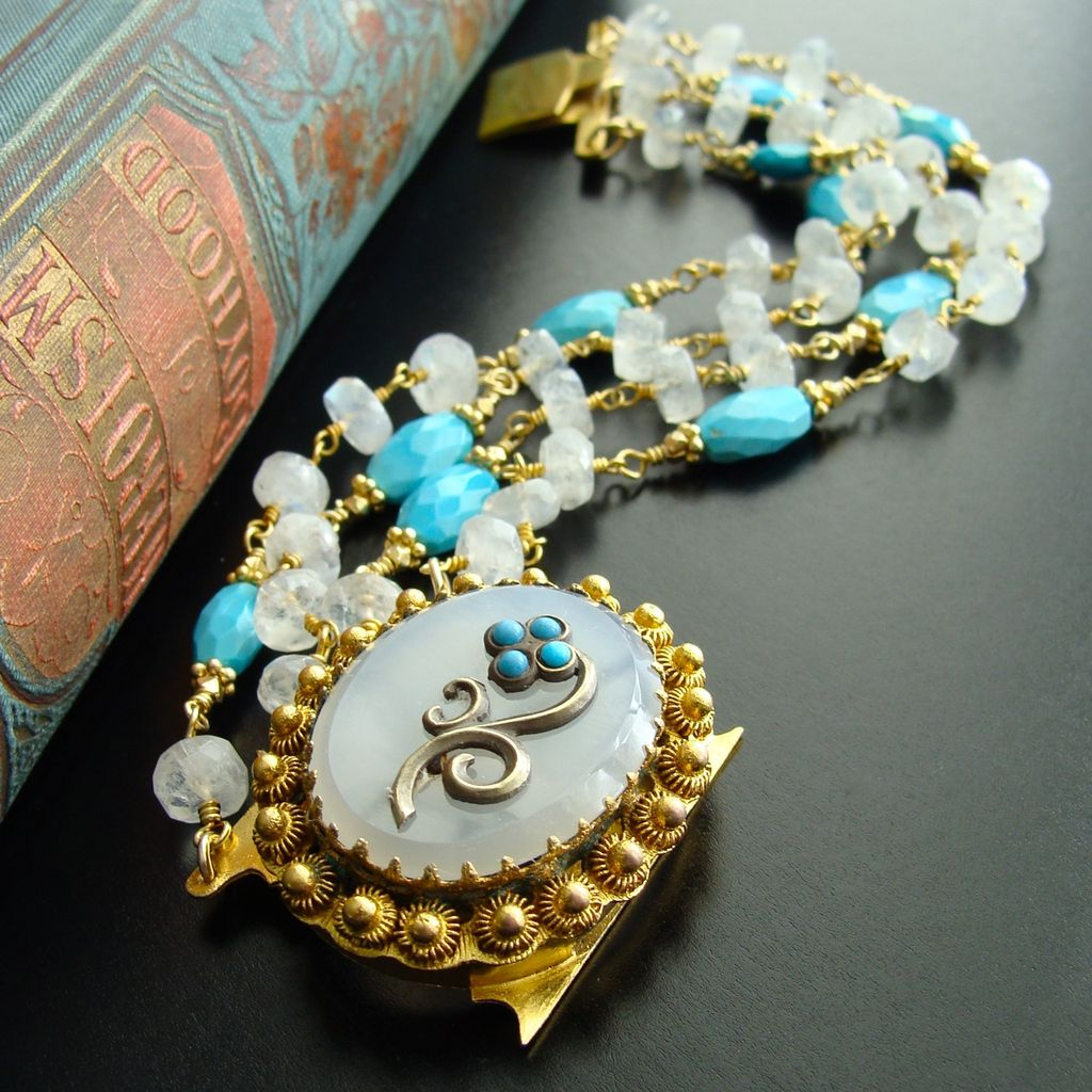 Sleeping Beauty Turquoise Moonstone Georgian Pinchbeck Clasp Bracelet - Dottie Bracelet