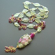 Gentrified Gladiolus Garden � Prehnite, Garnet Slices and Rubellite Necklace