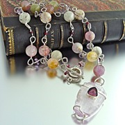Haleigh Necklace - Kunzite & Tourmaline Pendant with Kunzite, Pink Amethyst and Tourmaline Cha