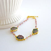 Tourmaline Slices Pink Topaz Bracelet -Mimi Bracelet