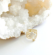 Mother of Pearl Quatrefoil Coiled Wrap Ring