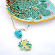 Turquoise Garnished Leaf Necklace