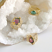 Watermelon Tourmaline Coiled Wrap Ring