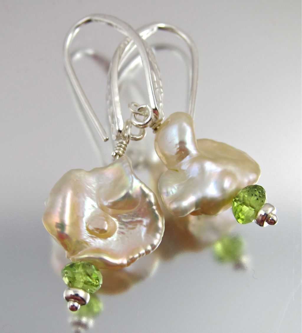 Earrings ~ GREEN WIZARDS ~ Keishi Pearls and Peridot