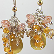 Earrings ~ GOLDILOCKS ~ Vermeil Teardrops & Tiny Gemstones