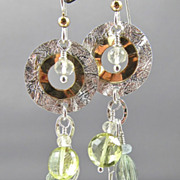 Earrings ~ SUN GODDESS ~ Prasiolite, Citrine & Golden Sterling Discs