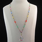 Signed Czech Lavalier Necklace -- Givre Beads & Multicolored Crystal Lavalier