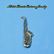 Saxophone Pin -- Sterling -- Highly Detailed Figural -- Jazz Lover