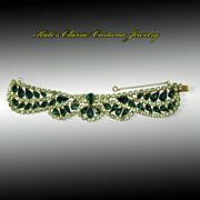 SALE Gorgeous Green Rhinestone Bracelet -- Scalloped -- 50s/60s