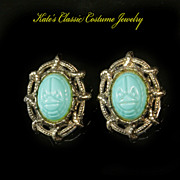Scarab faux Turquoise Earrings -- Snake Motif -- Unsigned