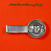 Mexican . 865 Silver Money or Tie Clip -- Tribal/Mayan Face Mask -- pre-Eagle