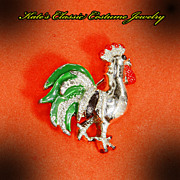 Rooster figural Pin -- Gerry's -- 60s