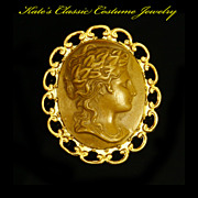 Cameo Brooch -- High Relief- Composite -- 30s