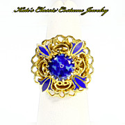 Cocktail/Dinner Ring -- Enamel & faux Lapis -- Renaissance Revival