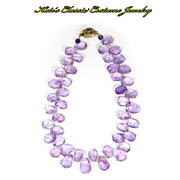 Vintage Amethyst Briolette Choker Necklace -- Sterling -- 45 Stones