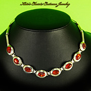Vintage Mid Century Modern Sterling Silver & Amber Necklace -Signed