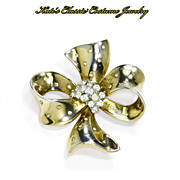 Trifari Sterling & Rhinestone Bow Pin -- mid 1940s