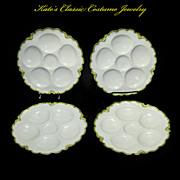 Oyster Plates -- Four -- French Art Nouveau -- Havilland Limoges